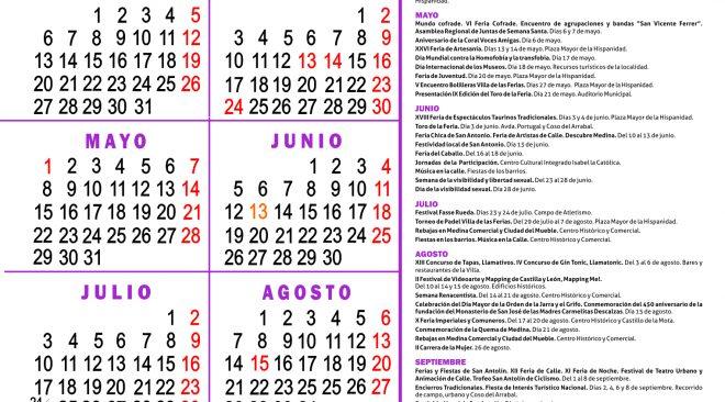 Consulta aquí la agenda de eventos 2017 de Medina del Campo